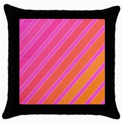 Pink Elegant Lines Throw Pillow Case (black) by Valentinaart