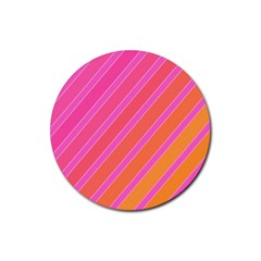 Pink Elegant Lines Rubber Round Coaster (4 Pack)  by Valentinaart