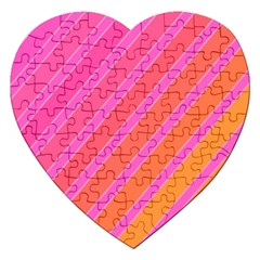 Pink Elegant Lines Jigsaw Puzzle (heart) by Valentinaart