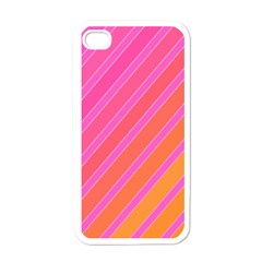 Pink Elegant Lines Apple Iphone 4 Case (white) by Valentinaart