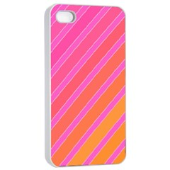 Pink Elegant Lines Apple Iphone 4/4s Seamless Case (white) by Valentinaart