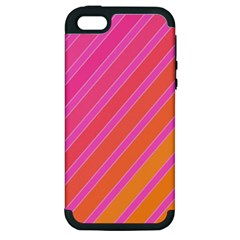 Pink Elegant Lines Apple Iphone 5 Hardshell Case (pc+silicone) by Valentinaart