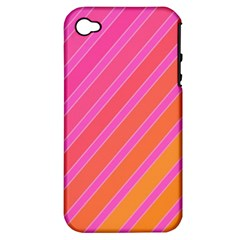 Pink Elegant Lines Apple Iphone 4/4s Hardshell Case (pc+silicone) by Valentinaart