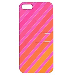 Pink Elegant Lines Apple Iphone 5 Hardshell Case With Stand by Valentinaart