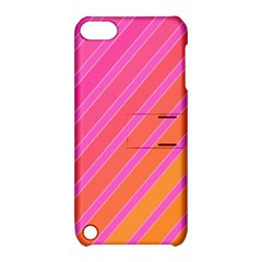 Pink Elegant Lines Apple Ipod Touch 5 Hardshell Case With Stand by Valentinaart