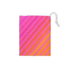 Pink Elegant Lines Drawstring Pouches (small)  by Valentinaart