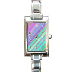 Pastel Colorful Lines Rectangle Italian Charm Watch by Valentinaart