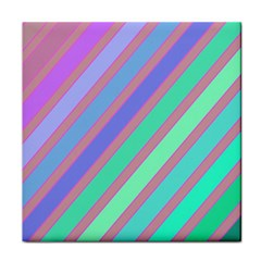 Pastel Colorful Lines Tile Coasters by Valentinaart