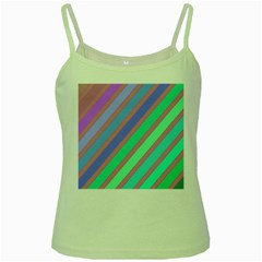 Pastel Colorful Lines Green Spaghetti Tank by Valentinaart