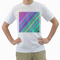 Pastel Colorful Lines Men s T-shirt (white) (two Sided) by Valentinaart