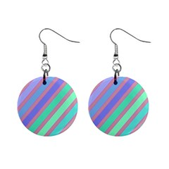 Pastel Colorful Lines Mini Button Earrings by Valentinaart