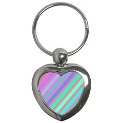 Pastel Colorful Lines Key Chains (heart)  by Valentinaart