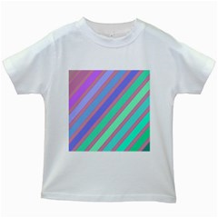 Pastel Colorful Lines Kids White T Shirts by Valentinaart