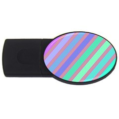 Pastel Colorful Lines Usb Flash Drive Oval (2 Gb)  by Valentinaart
