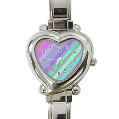 Pastel Colorful Lines Heart Italian Charm Watch by Valentinaart