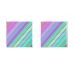 Pastel Colorful Lines Cufflinks (square) by Valentinaart