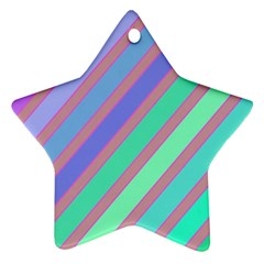 Pastel Colorful Lines Star Ornament (two Sides)  by Valentinaart
