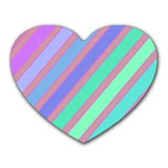 Pastel Colorful Lines Heart Mousepads by Valentinaart