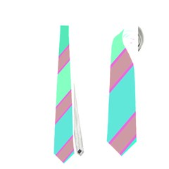 Pastel Colorful Lines Neckties (one Side)  by Valentinaart