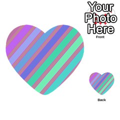 Pastel Colorful Lines Multi Purpose Cards (heart)  by Valentinaart