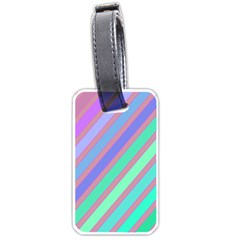 Pastel Colorful Lines Luggage Tags (two Sides) by Valentinaart