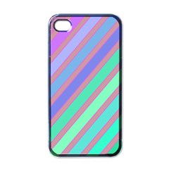 Pastel Colorful Lines Apple Iphone 4 Case (black) by Valentinaart