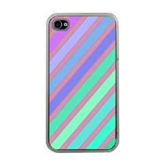 Pastel Colorful Lines Apple Iphone 4 Case (clear) by Valentinaart
