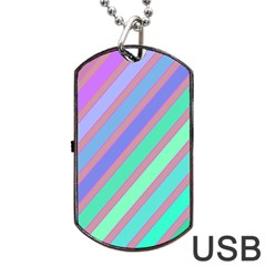 Pastel Colorful Lines Dog Tag Usb Flash (one Side) by Valentinaart