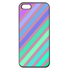 Pastel Colorful Lines Apple Iphone 5 Seamless Case (black) by Valentinaart