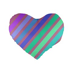 Pastel Colorful Lines Standard 16  Premium Heart Shape Cushions by Valentinaart