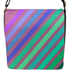 Pastel Colorful Lines Flap Messenger Bag (s) by Valentinaart