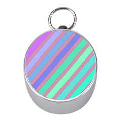 Pastel Colorful Lines Mini Silver Compasses by Valentinaart