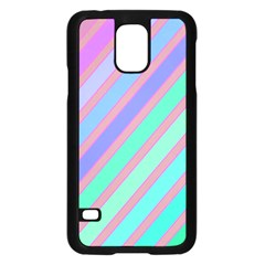 Pastel Colorful Lines Samsung Galaxy S5 Case (black) by Valentinaart