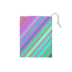 Pastel Colorful Lines Drawstring Pouches (small)  by Valentinaart