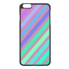 Pastel Colorful Lines Apple Iphone 6 Plus/6s Plus Black Enamel Case by Valentinaart