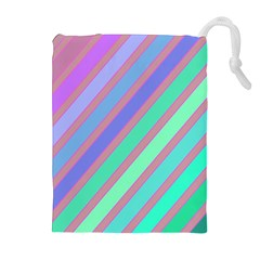 Pastel Colorful Lines Drawstring Pouches (extra Large) by Valentinaart