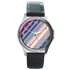 Colorful Lines Round Metal Watch