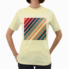 Colorful Lines Women s Yellow T Shirt