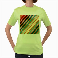 Colorful Lines Women s Green T Shirt by Valentinaart