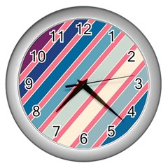 Colorful Lines Wall Clocks (silver)  by Valentinaart