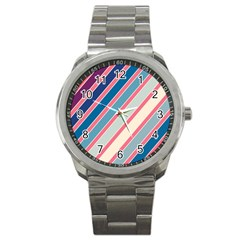 Colorful Lines Sport Metal Watch by Valentinaart