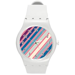 Colorful Lines Round Plastic Sport Watch (m) by Valentinaart