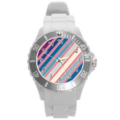 Colorful Lines Round Plastic Sport Watch (l) by Valentinaart