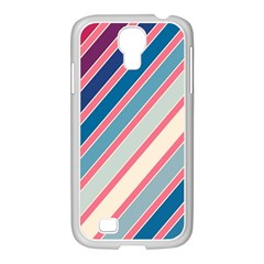 Colorful Lines Samsung Galaxy S4 I9500/ I9505 Case (white) by Valentinaart