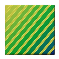 Green And Yellow Lines Tile Coasters by Valentinaart
