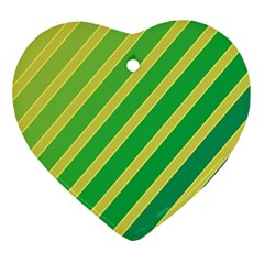 Green And Yellow Lines Ornament (heart)  by Valentinaart