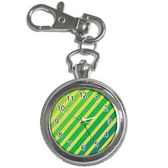 Green And Yellow Lines Key Chain Watches by Valentinaart