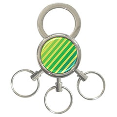 Green And Yellow Lines 3 Ring Key Chains by Valentinaart