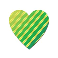 Green And Yellow Lines Heart Magnet by Valentinaart