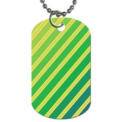Green And Yellow Lines Dog Tag (two Sides) by Valentinaart